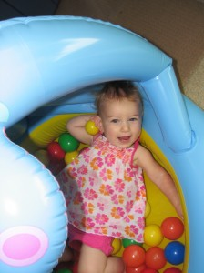 She loves her ball pit =)  When her Daddy's not monopolizing it =)