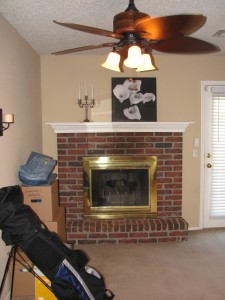 Fireplace and Family area across from kitchen.  It's pretty open =)