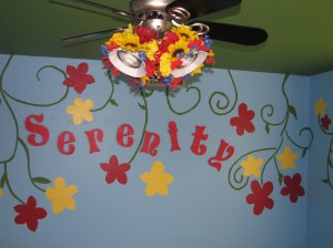 We added Serenity's name to the wall in letters Dad got her, and I made flower lampshades so her ceiling fan fit the theme =)