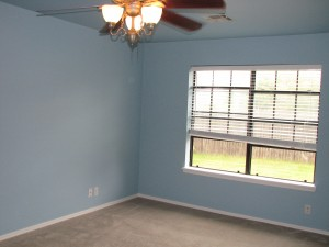 We got this blue paint free from my Mom... she spoiled us, it is 70 dollar a gallon paint and it went on so beautifully!