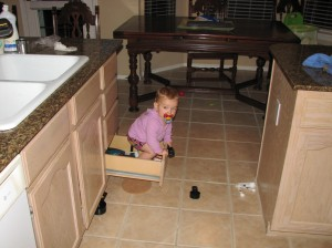 "I'm around the corner and I hear her say ""stuck, stuck""  She's sitting on her bottom in this drawer with her arms and legs flailing.  I get her out, and what does she do?  Climb right back in of course!"