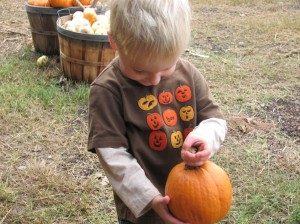 Carson was so excited to have lots of pumpkins on his brand new shirt!  He was the most excited about picking pumpkins =)