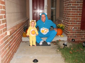 I made the Care Bear costumes =)  It was quick, and they loved them!