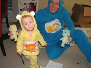 Eric wore his Care Bear costume to work... all day!  I brought Serenity by so that they could see her as a Care Bear too =)
