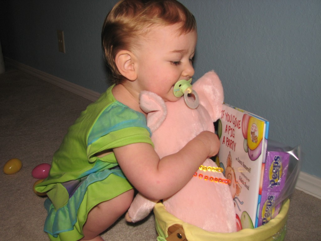 She loves hugging her animals!  We read the book right away =)