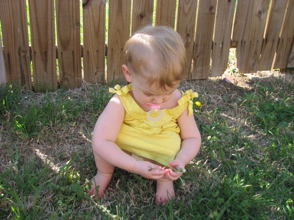 Picking Dandelions =)  She loves her yellow dresses the most I think, they are the most often requested.