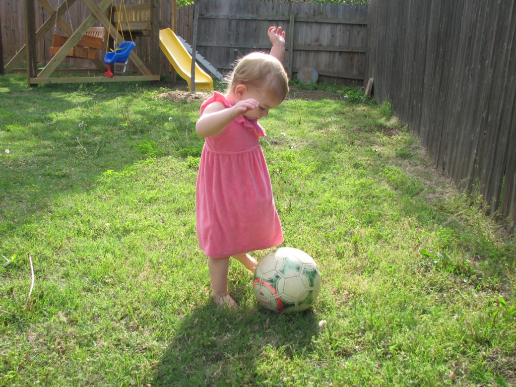 We play ball in the backyard, football, baseball, and soccer.  =)