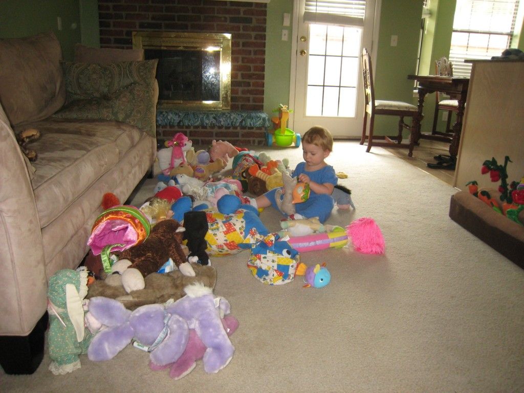Ann had this great game where she collected every stuffed animal that Serenity owns and had a gigantic tea party.  Serenity loved this!  It definitely put her back in a tea party phase again, she really loves it!  She has an impressive stash doesn't she? =)