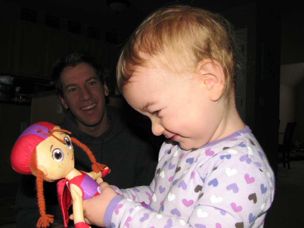 Wonder Red and a very happy baby girl on Christmas morning =)