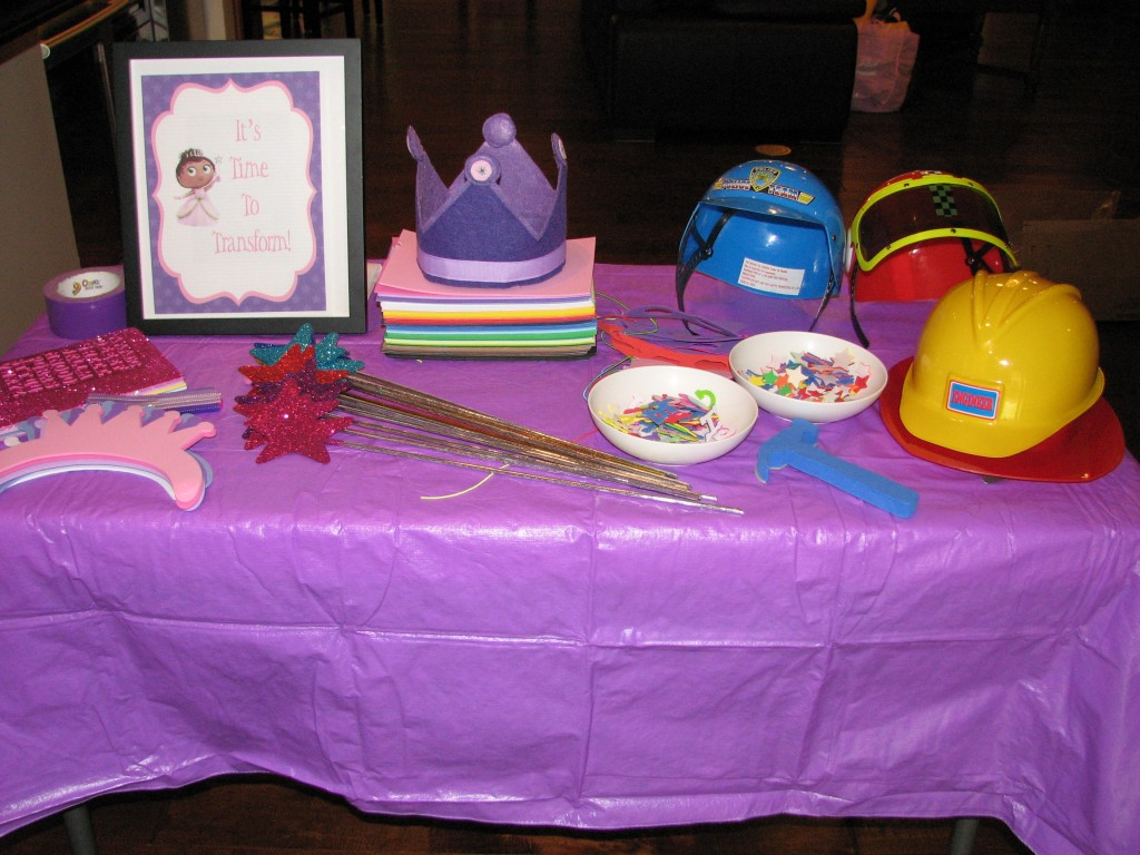 Princess Crowns, Glitter Wands(a huge hit with everyone), Workmen Hats like Alpha Pig, and foam stickers to decorate everything!  Plus Serenity's special crown and cape.