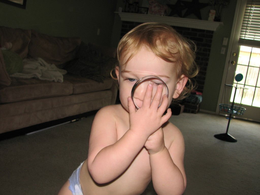 This magnifying glass came from Don, she loves it!  Walks around with it pressed right to her eyes all the time =)