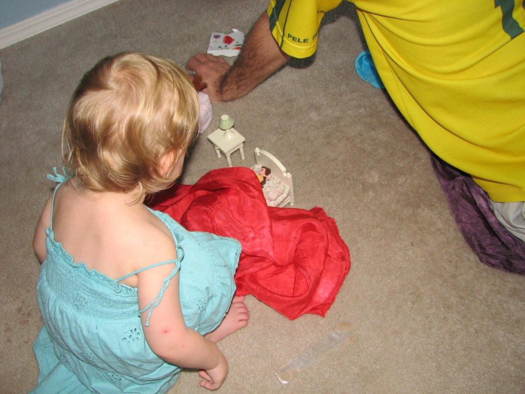 Serenity got more furniture for her doll house!  She used her scarf to tuck Belle in =)