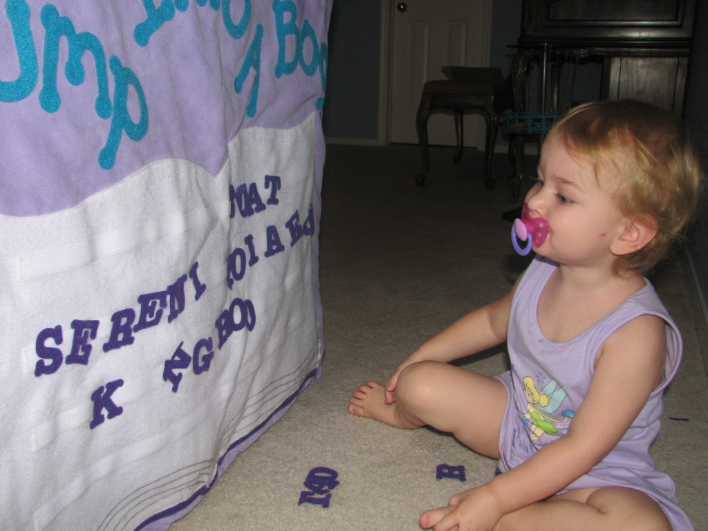 She can sometimes spell Serenity... sometimes she skips a few letters in the middle =)
