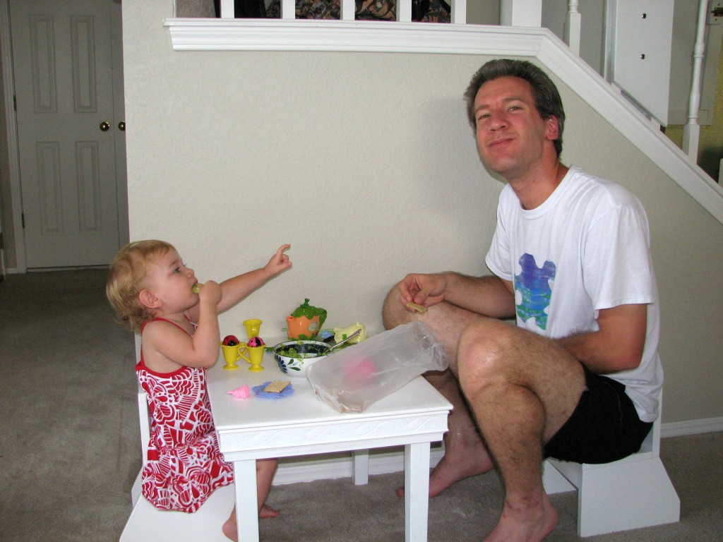 Having a guacamole party with Daddy