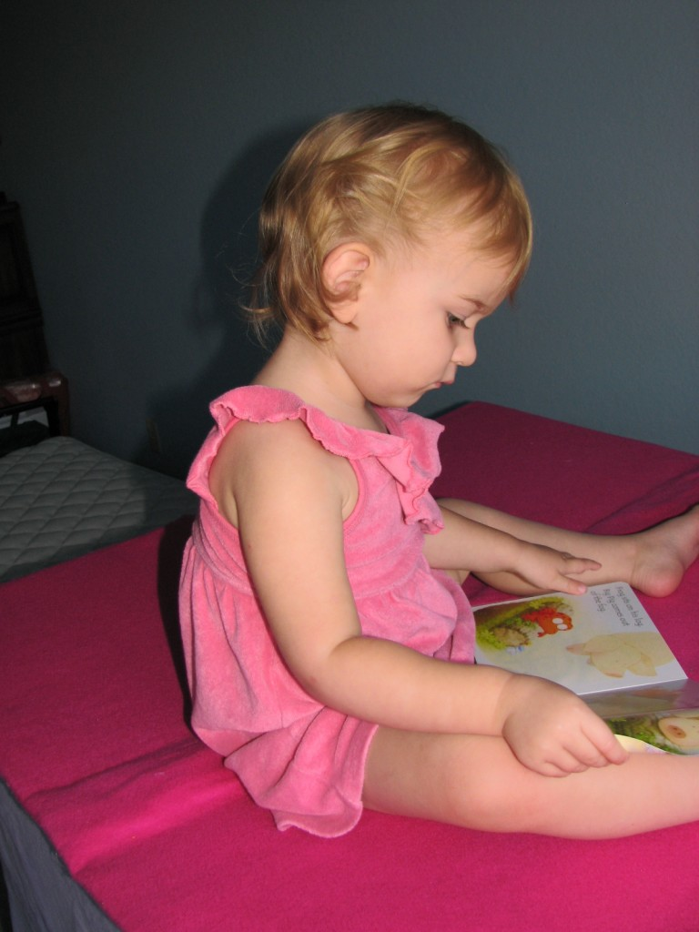 I found her sitting on top of her tent reading this book to herself =)  Frog on a Log