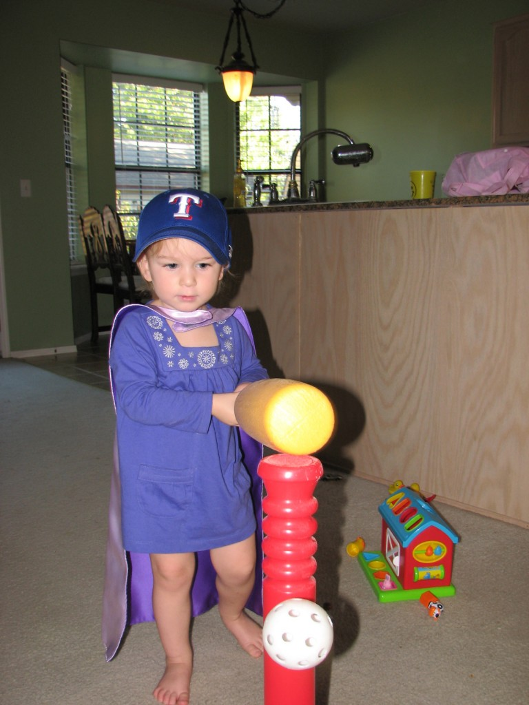 Serenity dressed a superhero baseball player =)