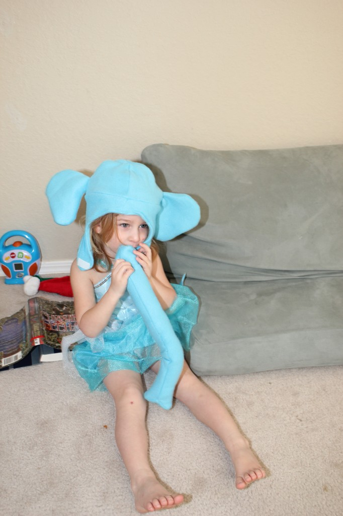 Serenity acted out various parts of her Elephant and Piggie books =)  Guess I need to make a piggie next.