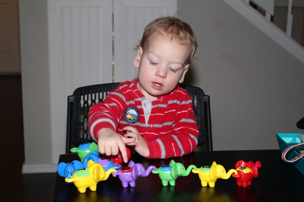 Donovan loves Elephants!  Grandma got him this set =)