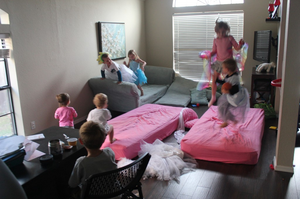 Dress Up Fun and mattresses all over the floor for jumping.  Entertainment, check!