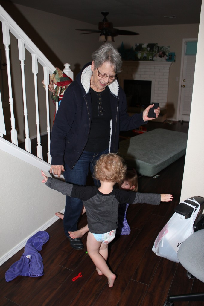 "Donovan loves to play the ""You're Trapped"" game.  Here he's preventing Grandma from leaving =)"
