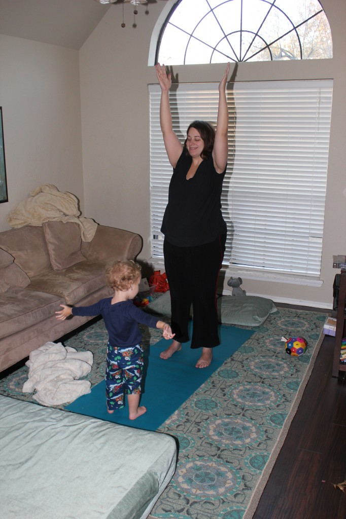 Doing yoga with Mama