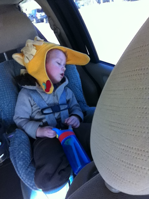 The only time he naps, in the car on the way to get Serenity from school