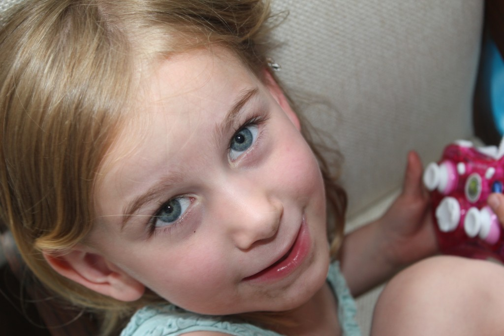 We were comparing eye color.  Hers are about the same as mine =)