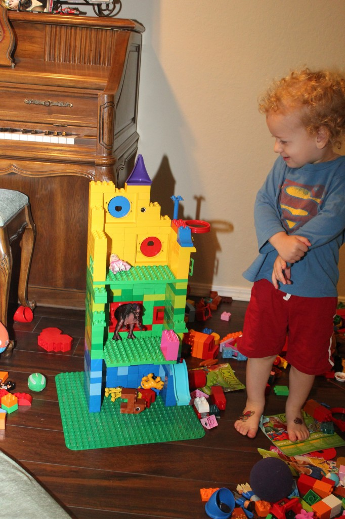 Donovan's own Lego Rapunzel's tower (Serenity had built one from regular legos a few days earlier =)