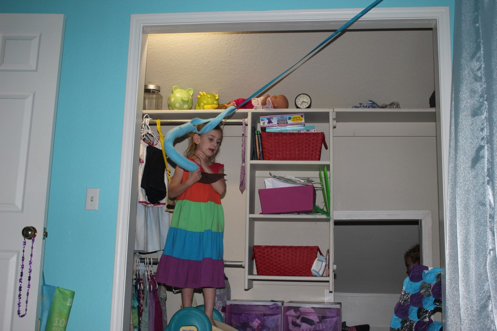 So... one of those suspicious quiet moments... Serenity built a zip line in her room.