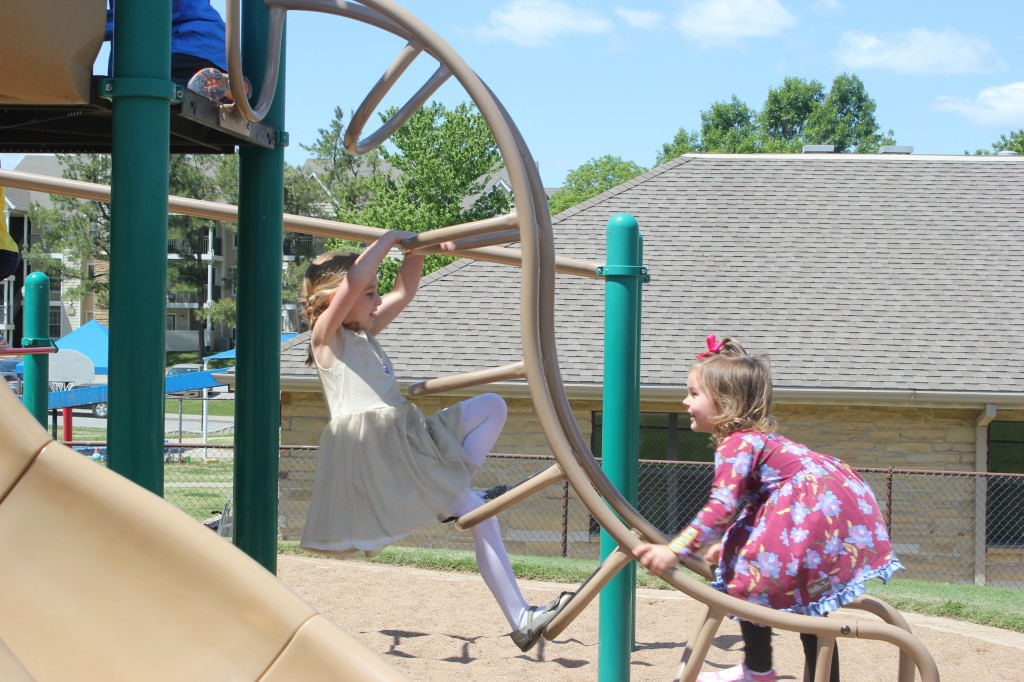 """While I was there I asked if there was anything Serenity liked to do on the playground, and this is what she chose to show me.  She said, """"I can fall off from up high and it doesn't even hurt!"""""""