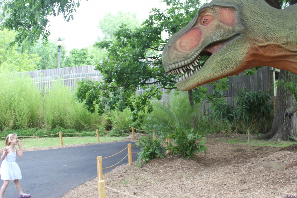 We visited the dinos at the zoo!  This t-rex was Donovan's favorite, Serenity liked the one that spits.