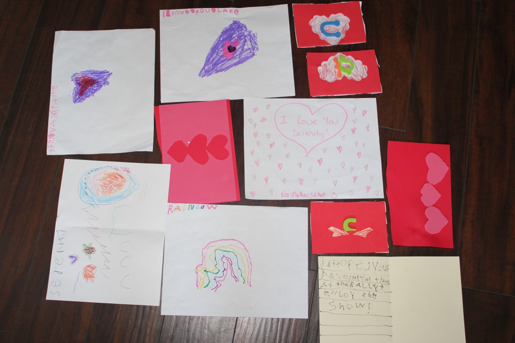 Art projects by Serenity!  She drew heart lake a lot, and added stickers.