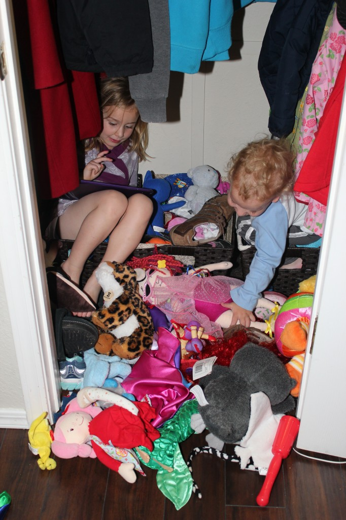 Finding my children with a mountain of toys in a random closet is not unusual