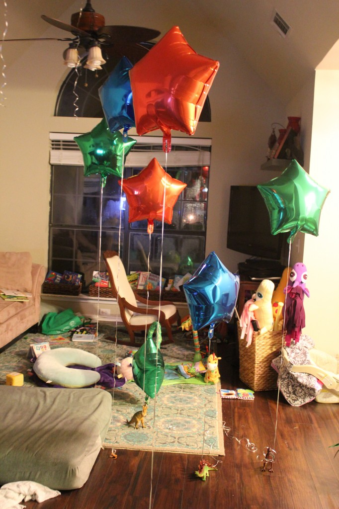Birthday balloons.  The pterodactyl flew off with one!
