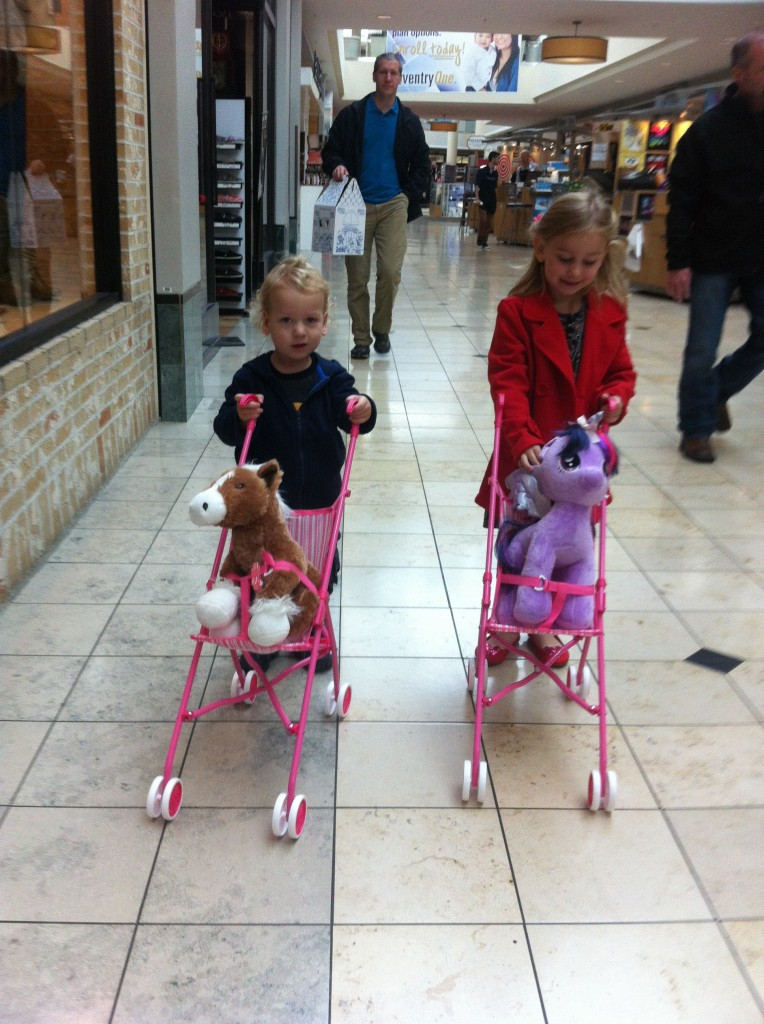 Twilight and Pony in their strollers