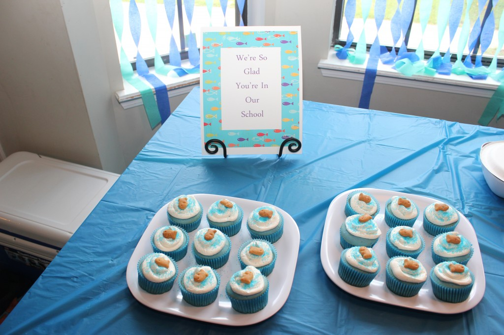 We held two back to school parties in one day, and the afternoon party got cupcakes with fish swimming on top that the kids helped make =)