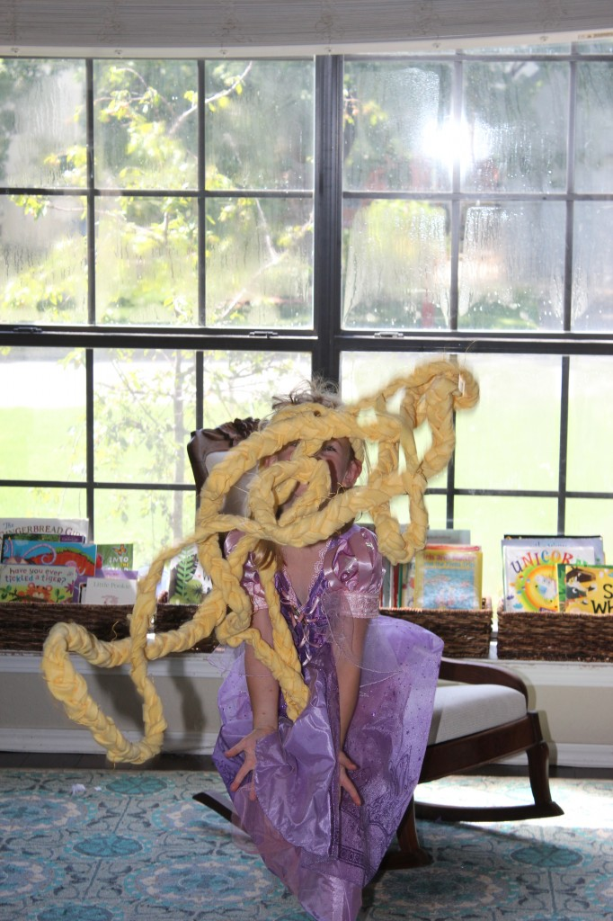 Rapunzel!  I remembered that I had braided a huge length of fleece and made it into a Moses basket.  I took it apart and Serenity was thrilled to have fancy hair to dress up with!