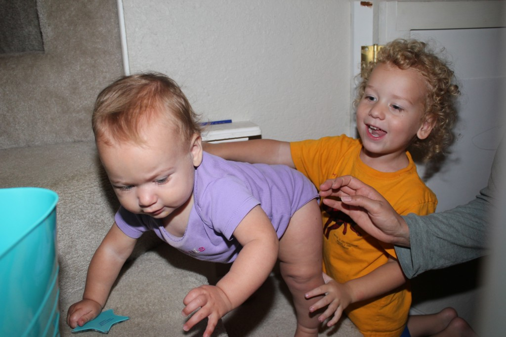 Maia learned to climb stairs!  Donovan shouted for us the second she touched the stairs and went right up behind her to keep her from falling.  Such a great big brother!