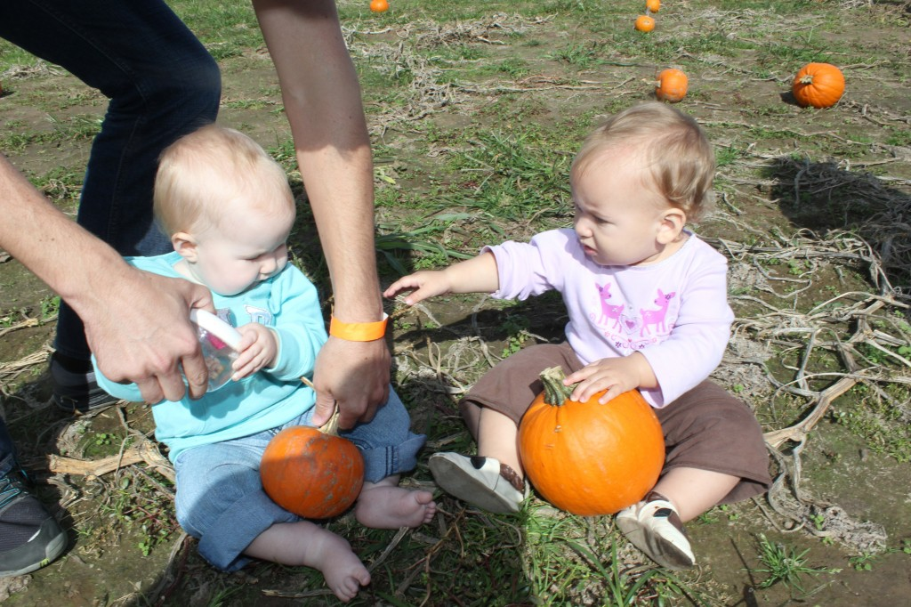 With her friend Katherine at the pumpkin patch field trip