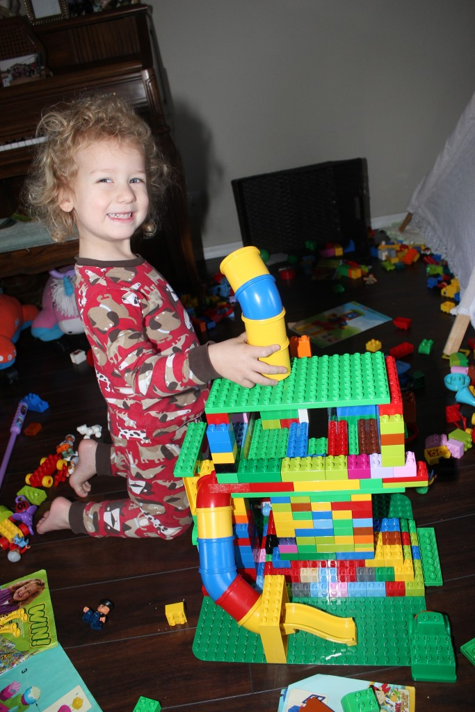 We built a Lookout out of Lego Duplos (Paw Patrol!)