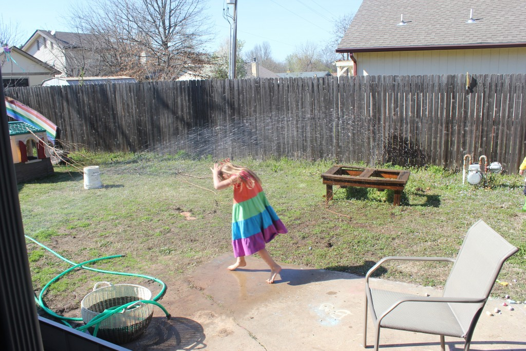The kids discovered when I put the water timer back on that all they had to do to make a sprinkler was turn a little knob.  Now the backyard is even more of a swamp than when the faucet just leaked five gallons a day.