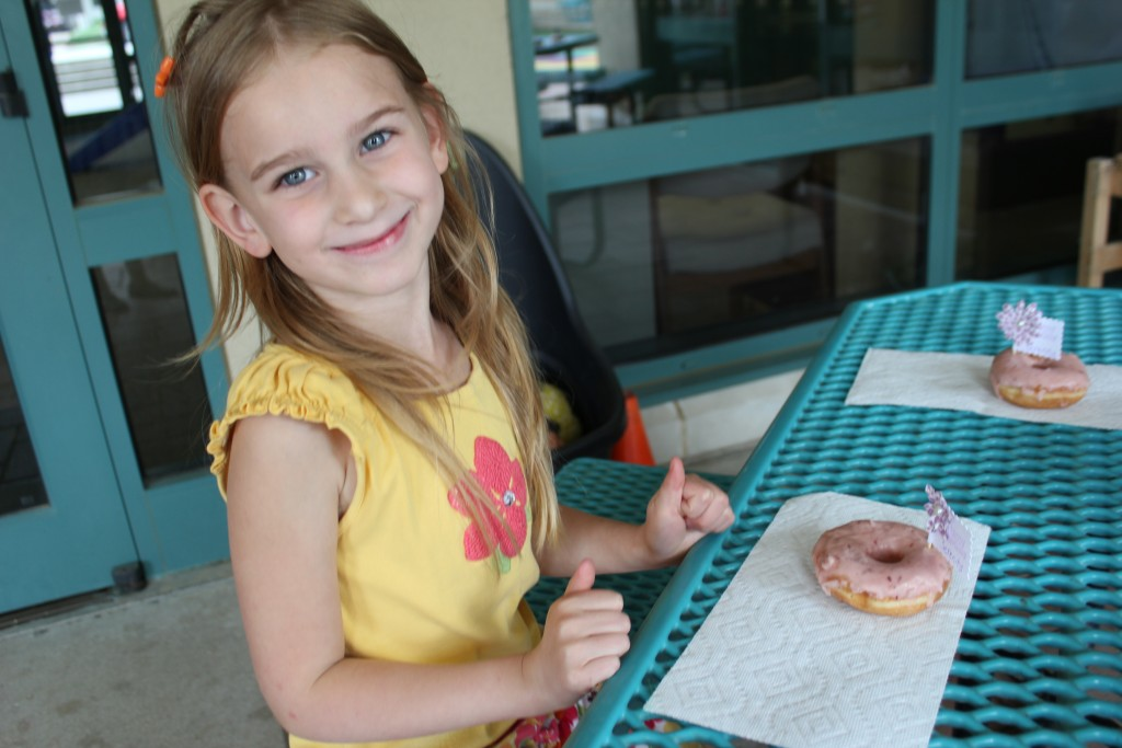 Birthday donut treats for school =)  She helped me make the flags