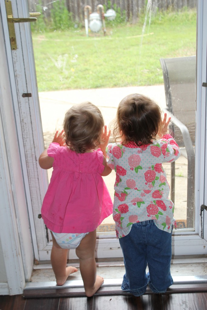 Serenity and her friend Sophia look longingly in the yard.  Why do the big kids get to go out? ;)