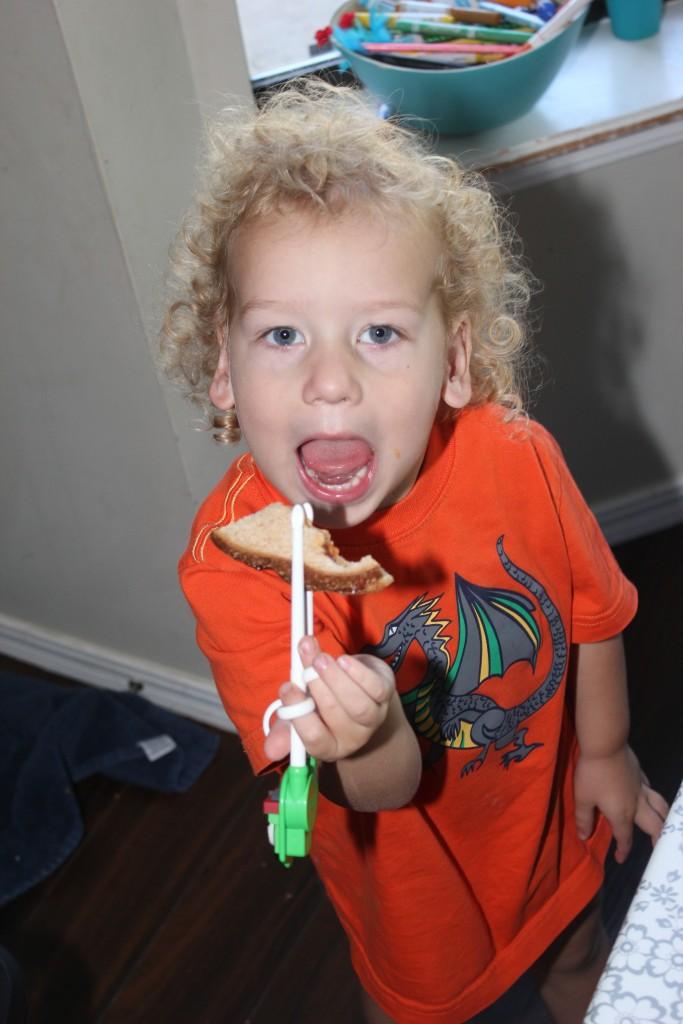 September 2014 (he loves his new chopsticks!)