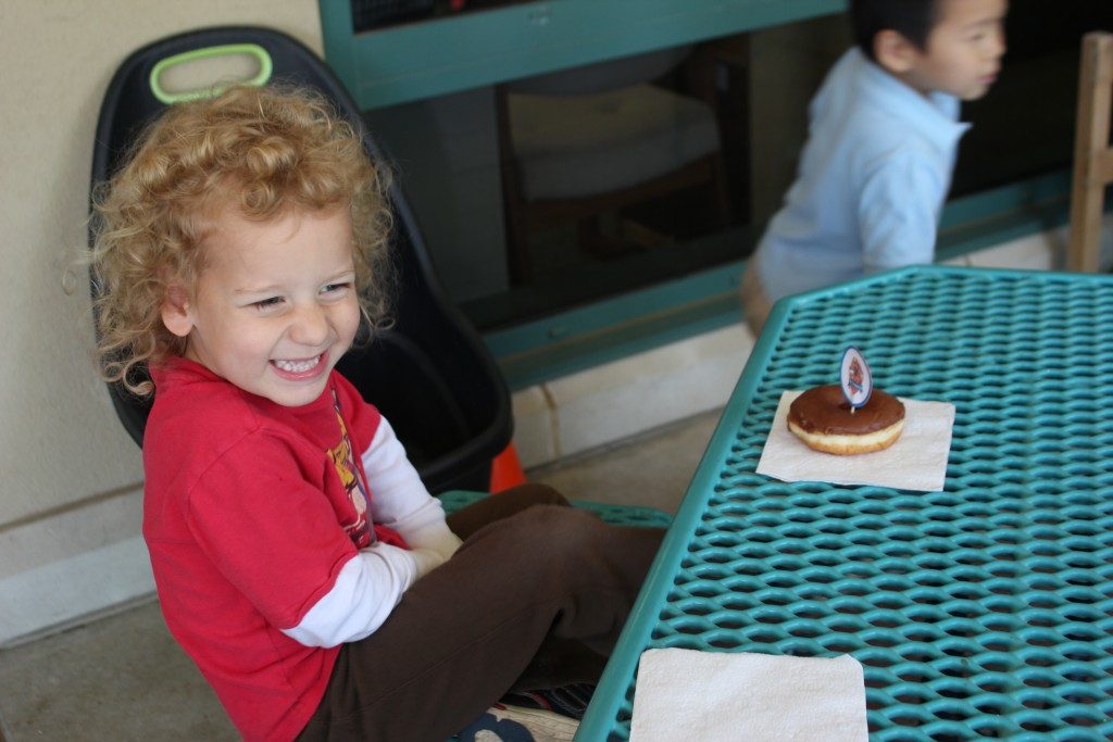 April 2015 (He LOVES chocolate donuts.  His favorite =)