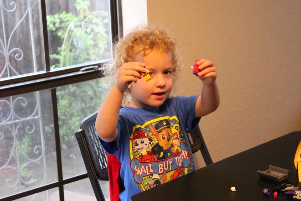 He loves Legos!  Vana Ema got him an X-men set for his birthday