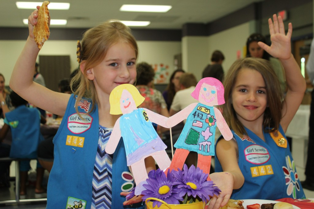 Serenity and Wren with the centerpieces they made for the banquet