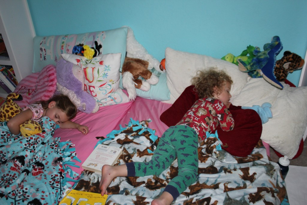 I love it when they drag all their stuffed animals to bed with them =)