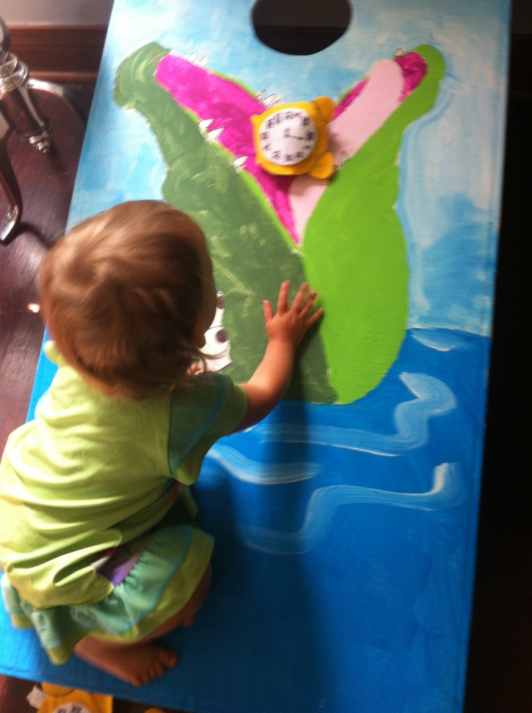 "She loved climbing the ""croc!"" that I painted for Sophia's Neverland party."