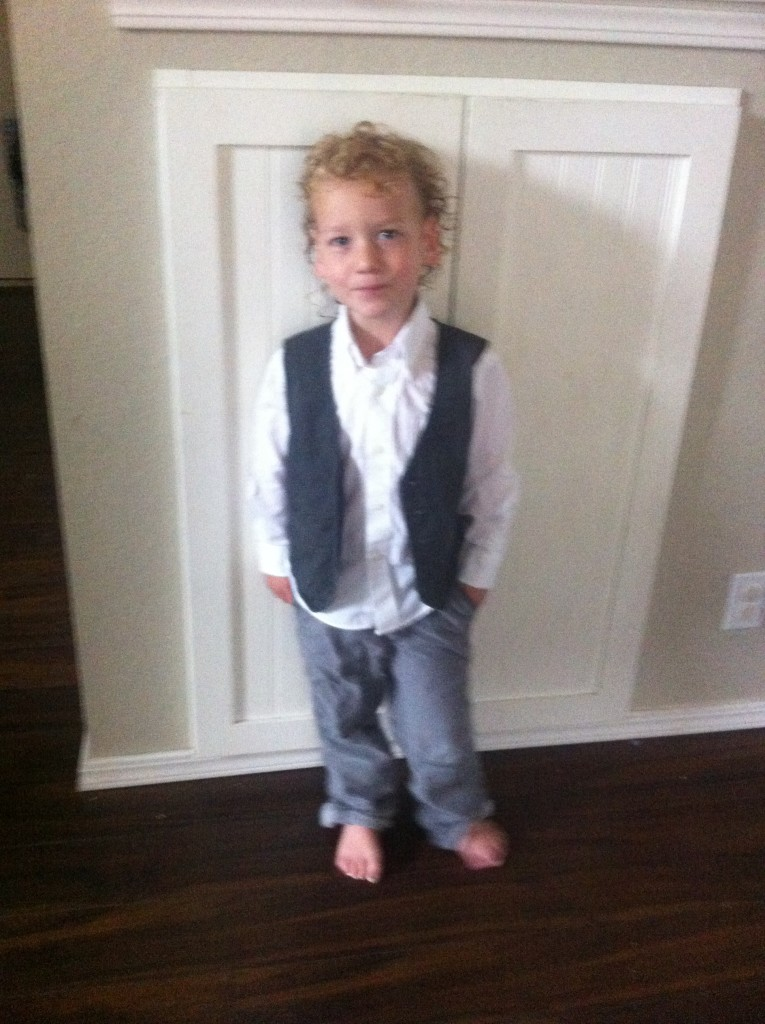 Wearing Barrett's vest =)  So handsome =)